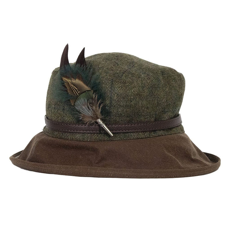 peak and brim hats betty tweed hat with gamebird and ostrich feather hat pin