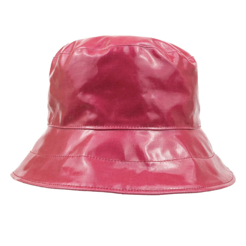 ladies pink pvc bucket rain hat