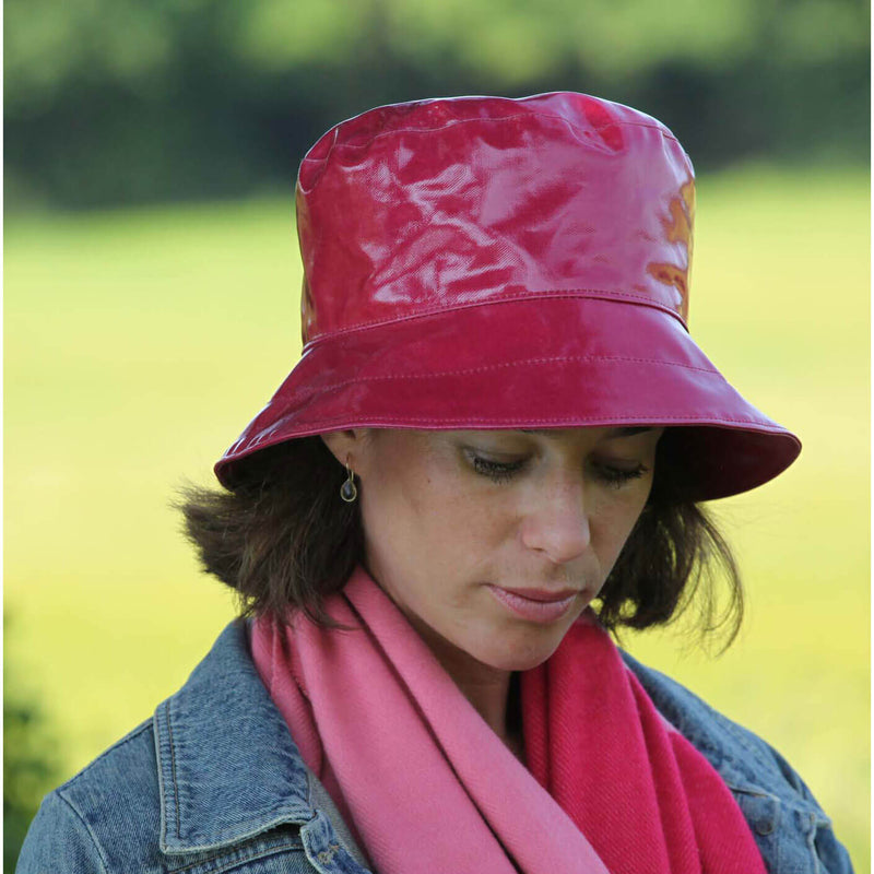 pink pvc ladies bucket hat on woman