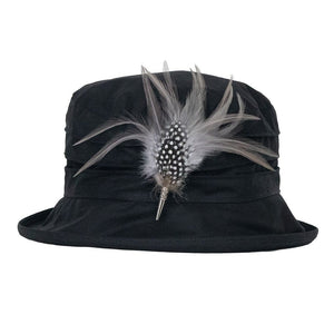 peak-and-brim-nola-black-hat-with-guinea-fowl-and-hackle-feather-hat-pin