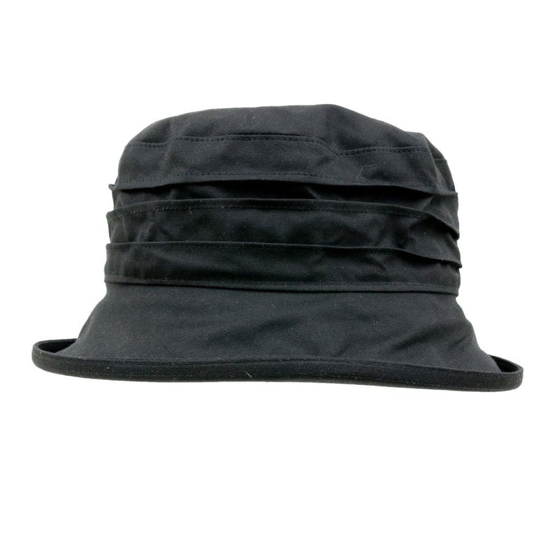 Peak And Brim Nola Ladies Black Waxed Rain Hat