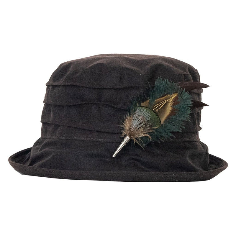 peak and brim nola brown hat with gamebird and ostrich feather hat pin