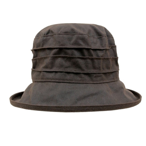 Peak And Brim Nola Ladies Brown Waxed Rain Hat
