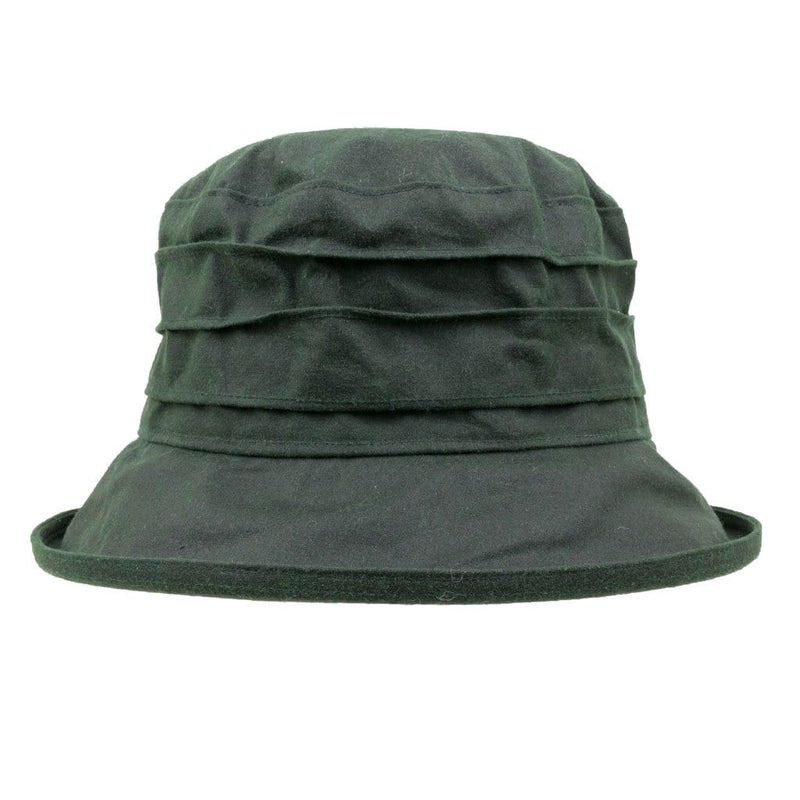Peak And Brim Nola Ladies Green Waxed Rain Hat