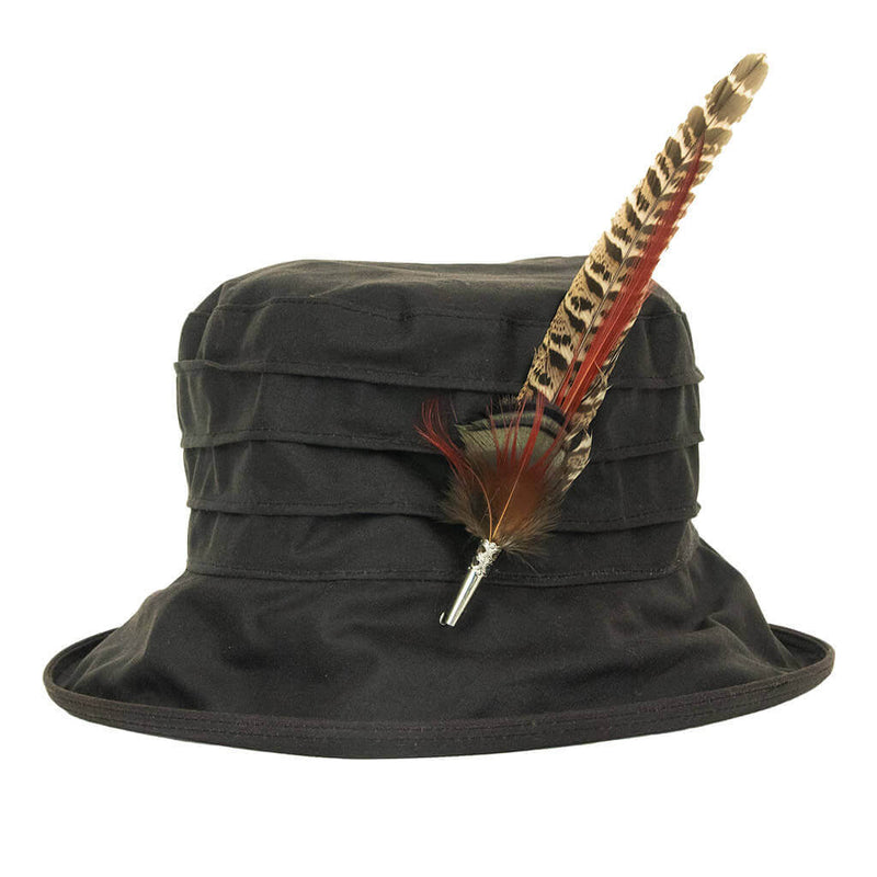 peak-and-brim-nola-ladies-brown-waxed-hat-with-orange-gamebird-feather-hat-pin