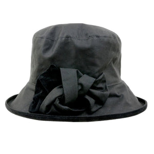Peak And Brim Zara Ladies Black Waxed Rain Hat With Black Suede Bow And Brim