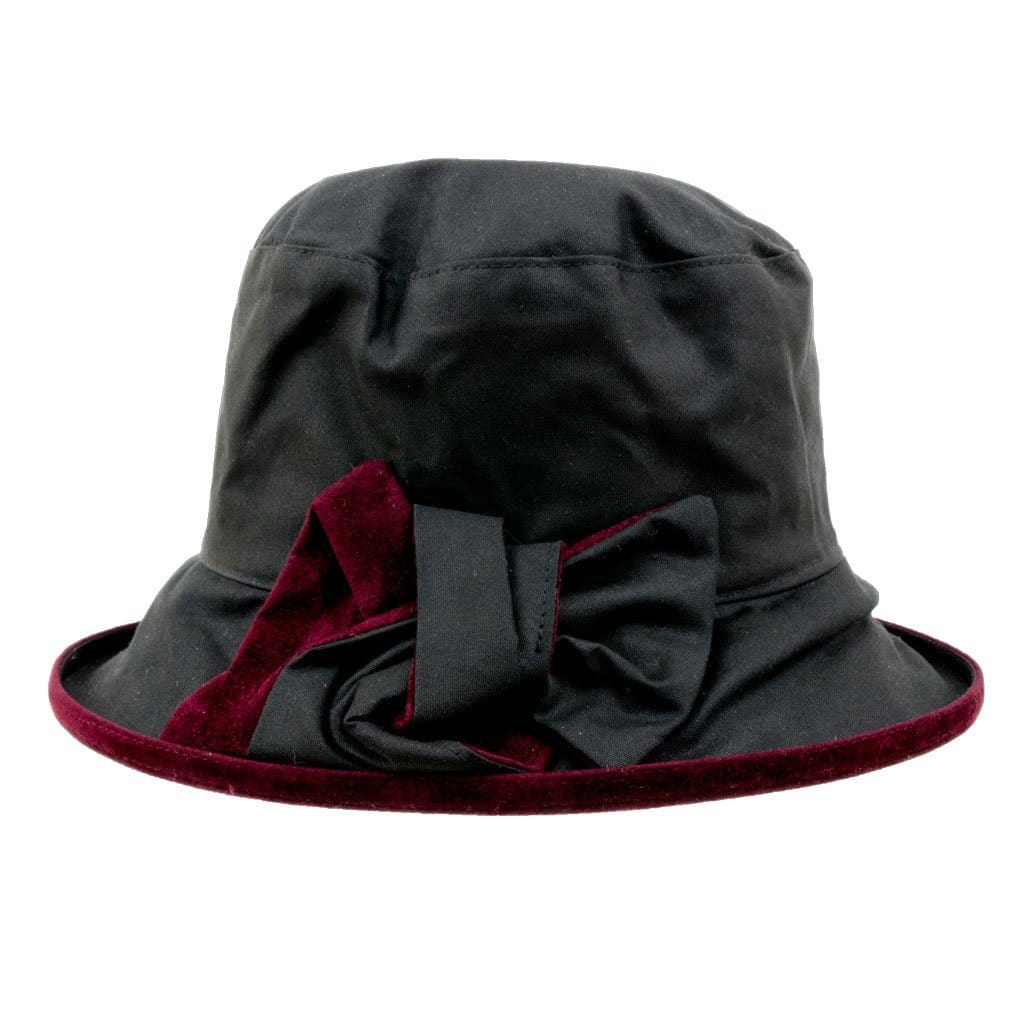 77d8992eff4d1 Peak And Brim Zara Ladies Black Waxed Rain Hat With Burgundy Suede Brim And  Bow