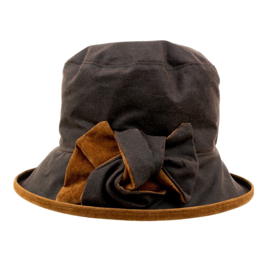 0f71785077401 Peak And Brim Zara Ladies Brown Waxed Rain Hat With Tan Suede Brim And Bow