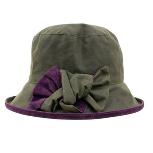 Peak And Brim Zara Green Waxed Rain Hat With Blackcurrant Suede Brim And Bow