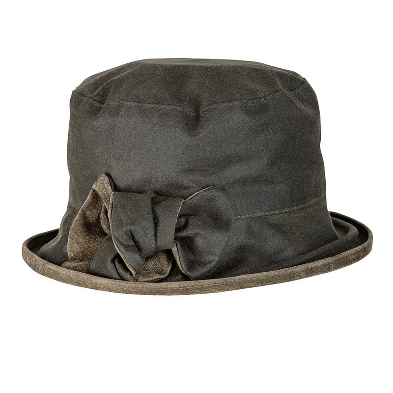 Peak And Brim Zara Ladies Green Waxed Rain Hat With Olive Suede Brim And Bow