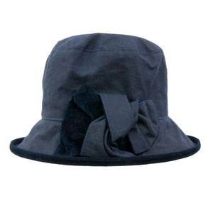 Peak And Brim Zara Ladies Navy Waxed Rain Hat With Navy Suede Brim And Bow