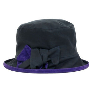 Peak And Brim Zara Ladies Navy Waxed Rain Hat With Violet Suede Brim And Bow