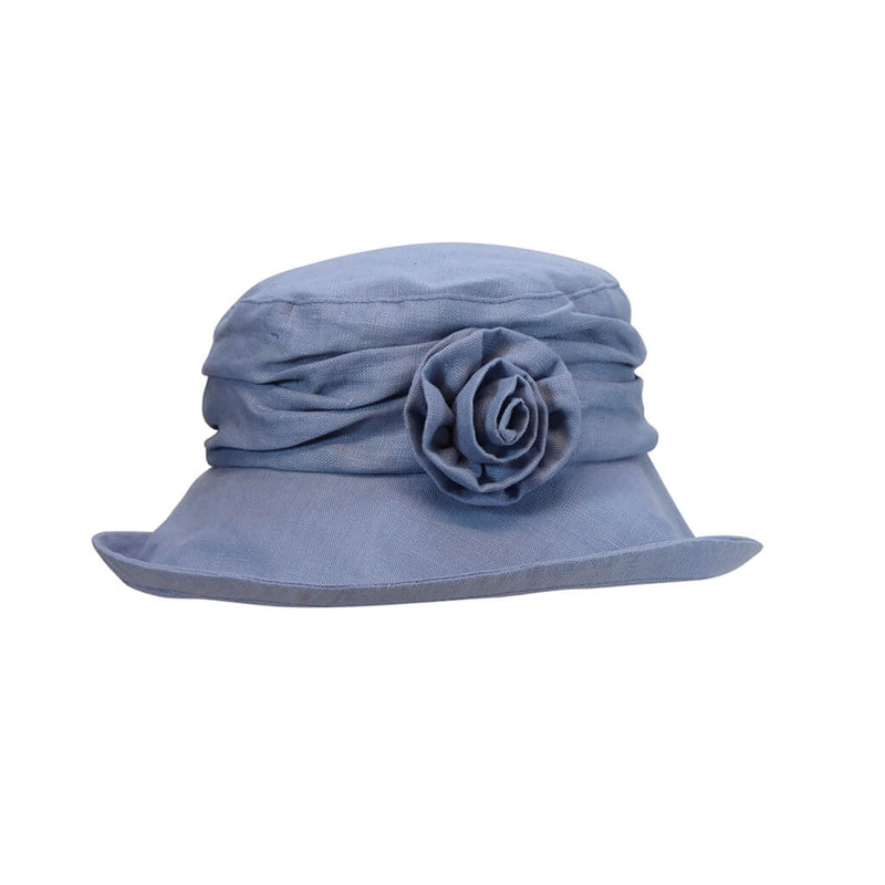 light blue ladies linen sun hat with flower accessory