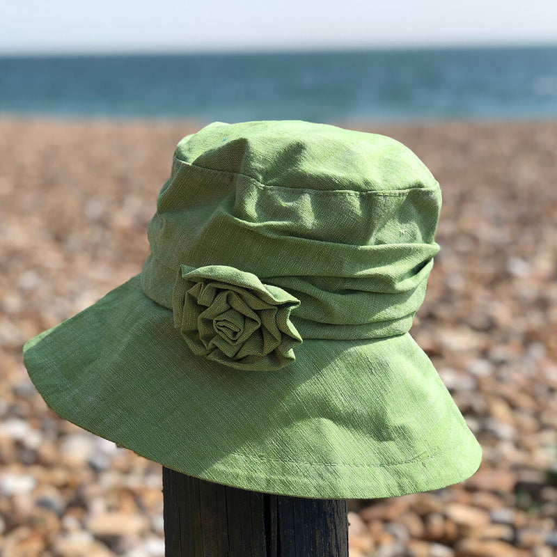proppa-toppa-isabella-lime-green-womans-sun-hat-on-beach