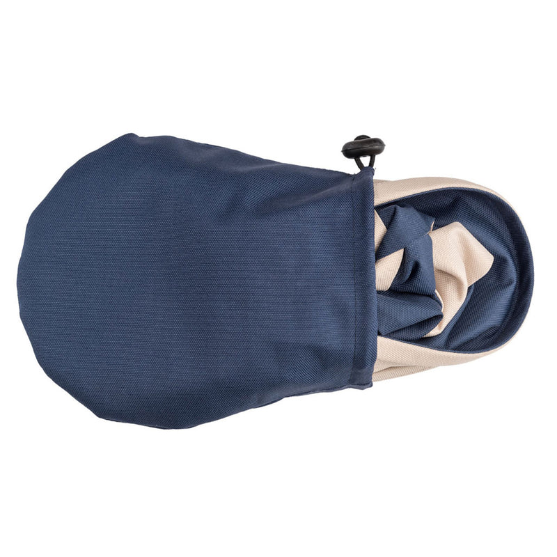 small navy bag carrying navy packable rain hat
