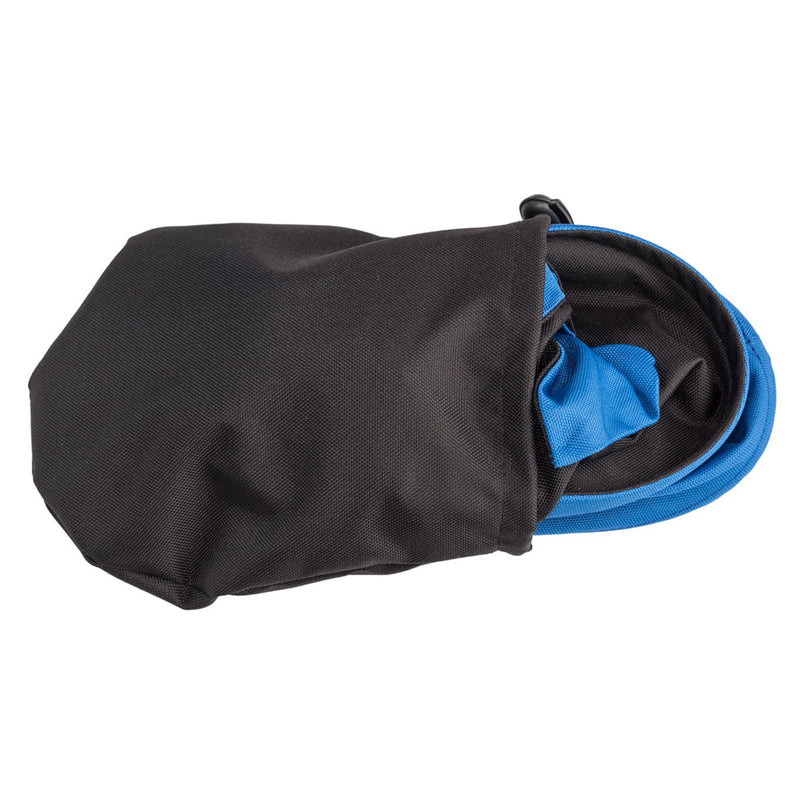 ladies black rain hat with royal blue trim shown in bag that it comes in