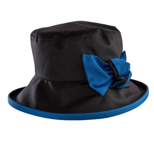 ladies black rain hat with royal blue bow and under brim