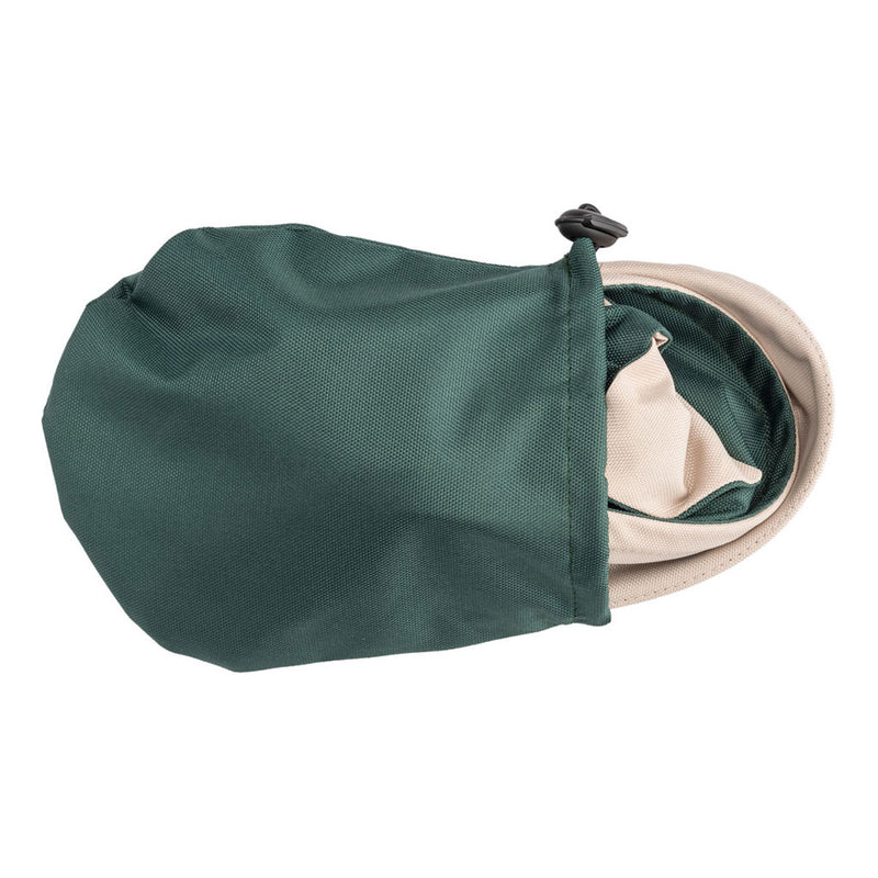 small green bag with foldable green rain hat inside