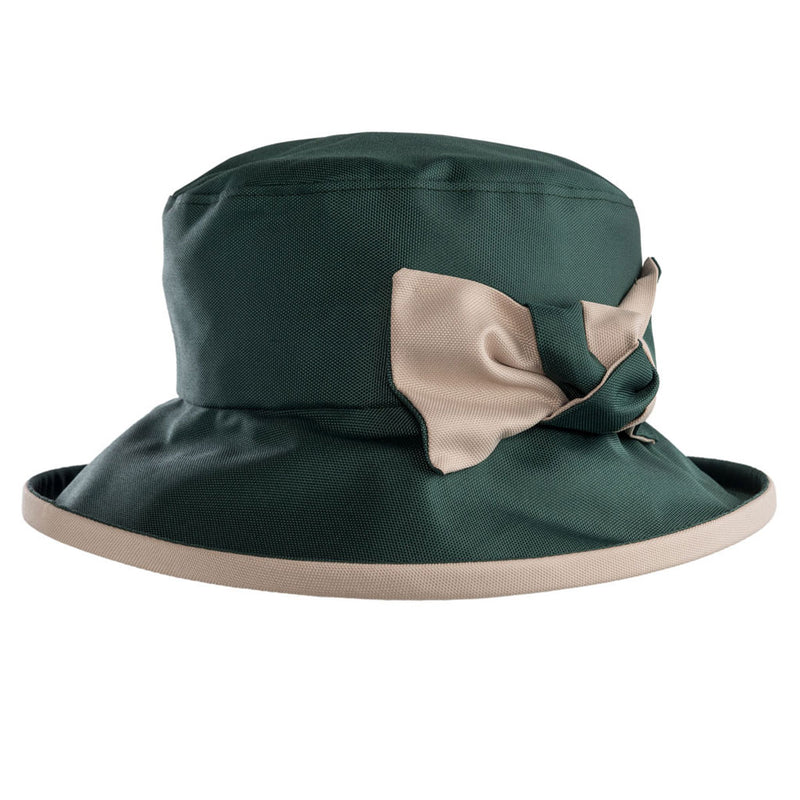 ladies green rain hat with cream bow and under brim