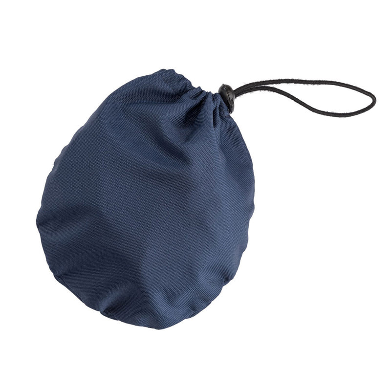 small navy pouch with packable navy rain hat inside