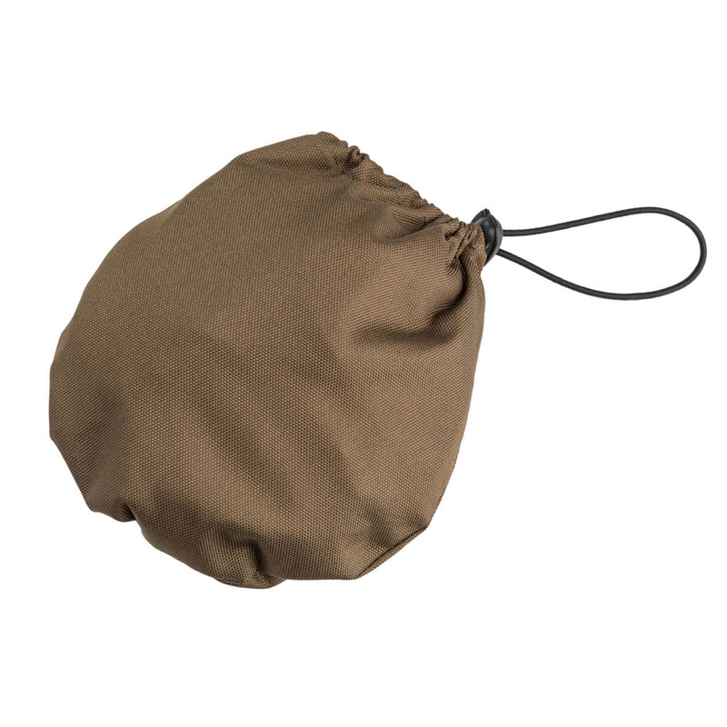 small olive green pouch withpackable olive green rain hat inside
