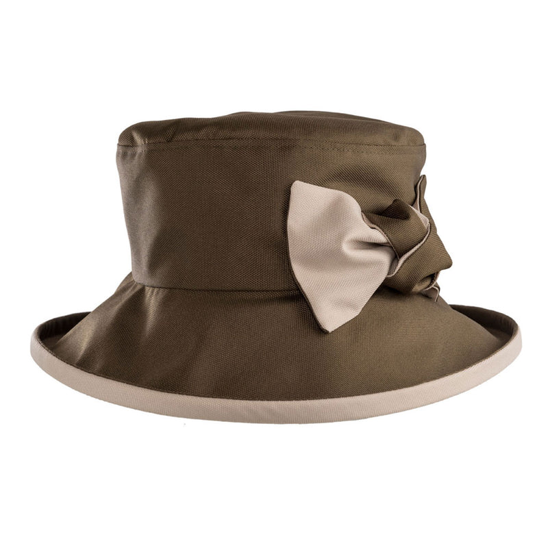 ladies olive green rain hat with cream bow and under brim