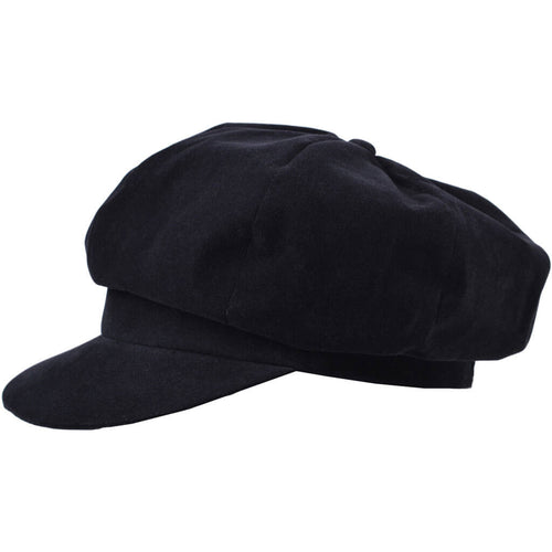 Ladies black velour waterproof baker boy cap