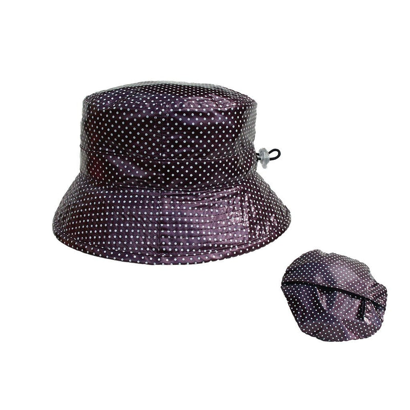 Proppa Toppa PT60 Felicity Aubergine With White Spots Ladies Packable Rain Hat Also Shown Packed Into Its Own Lining To Form  A Pouch