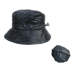 Proppa Toppa PT60 Felicity Black With White Spots Ladies Packable Rain Hat Also Shown Packed Into Its Own Lining To Form A Pouch