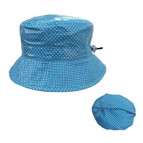 Proppa Toppa PT60 Felicity Light Blue With White Spots Ladies Packable Rain Hat Also Shown Packed Into Its Own Lining To Form A Pouch