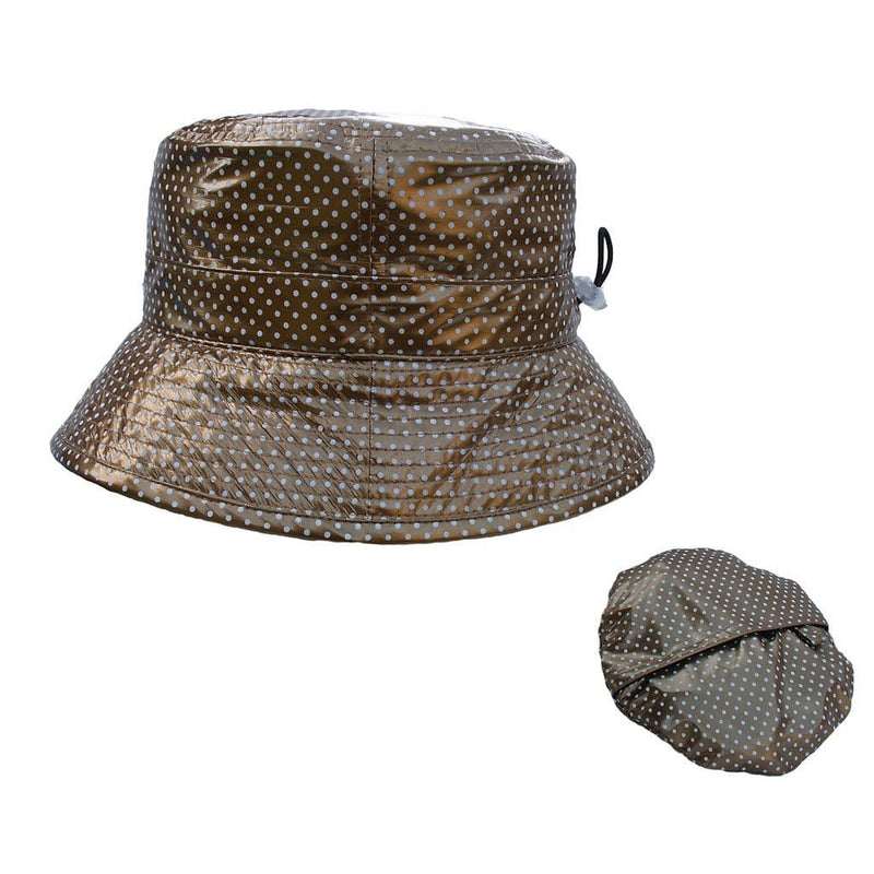 Proppa Toppa PT60 Felicity Gold With White Spots Ladies Packable Rain Hat Also Shown Packed Into Its Own Lining To Form A Pouch