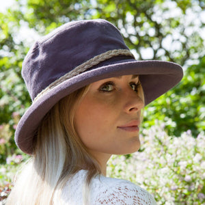 proppa toppa pt72 kathy aubergine linen sun hat with string plait decoration round crown of hat front view image on woman