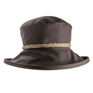 proppa toppa pt72 slate coloured sun hat with string plait decoration on crown of hat