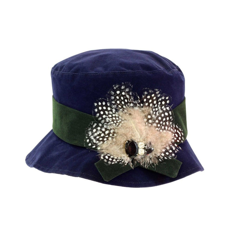 Proppa Toppa PT86 Hannah Navy Ladies Cloche Style Rain Hat With Feathers And Jewels Decoration