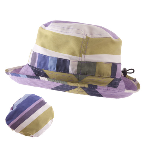 ladies packable rain hat in purple blue cream and green stripes