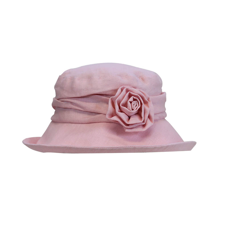 light pink ladies linen sun hat with flower accessory