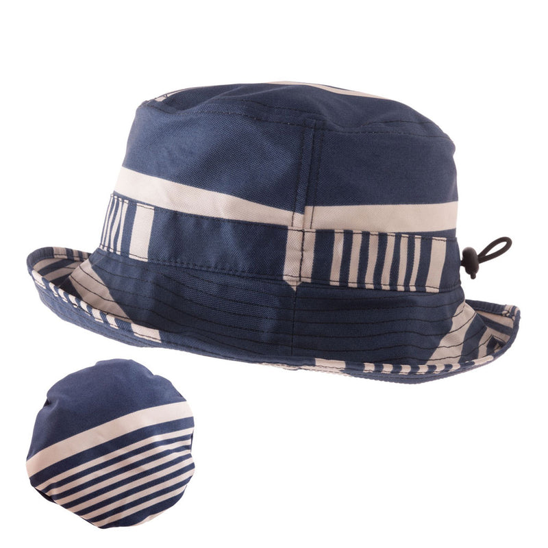 Proppa Toppa PT59 Ladies Packable Navy Stiped Rain Hat