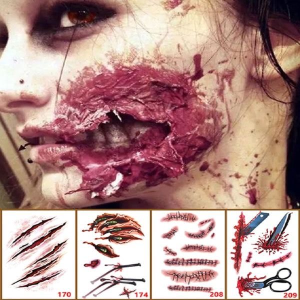 HorrorTatto fausses cicatrices sanglantes Pour L'Halloween