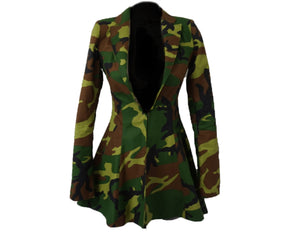 Camo Hi/Low Blazer Jacket Dress