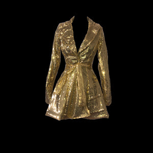 Gold Sequin Blazer Dress