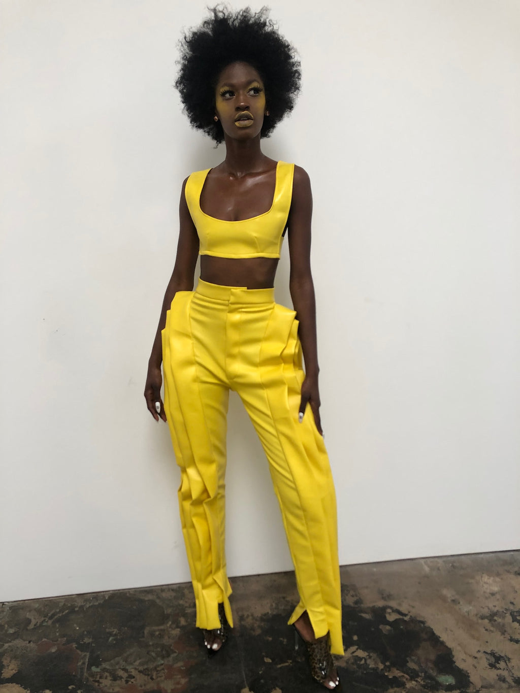 Yellow Side Ruffle Pant