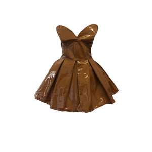 Strapless Pleat Dress - Caramel