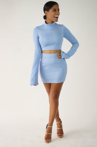 Bell Sleeve Mini Skirt Set