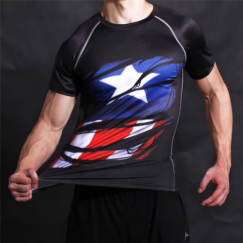 STEVE ROGERS Compression T-shirt (Black) - Gym Heroics Apparel