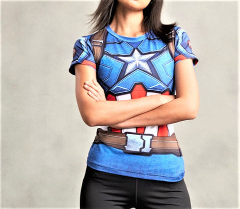 CAPTAIN AMERICA Women's Gym T-Shirt - Gym Heroics Apparel