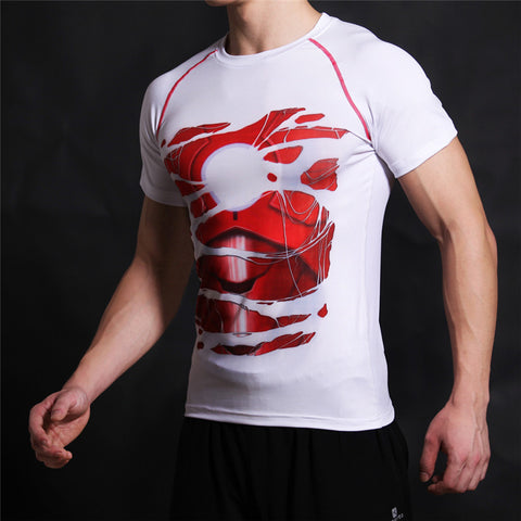TONY STARK Compression T-shirt (White) - Gym Heroics Apparel