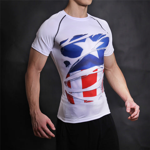 STEVE ROGERS Compression T-shirt (White) - Gym Heroics Apparel