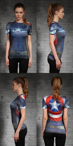 CAPTAIN AMERICA Women's T-Shirt - Gym Heroics Apparel