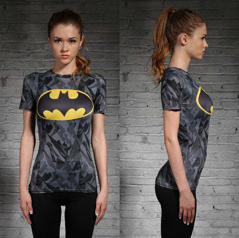 Batman Women's workout T-Shirt (Grey) - Gym Heroics Apparel