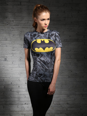 Batman Women's workout T-Shirt (Grey)